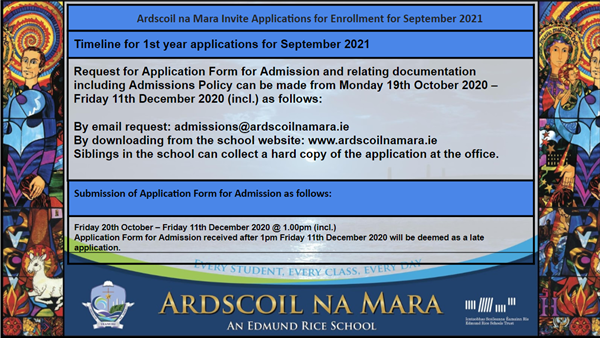 Invitation to apply to attend Ardscoil na Mara in September 2021